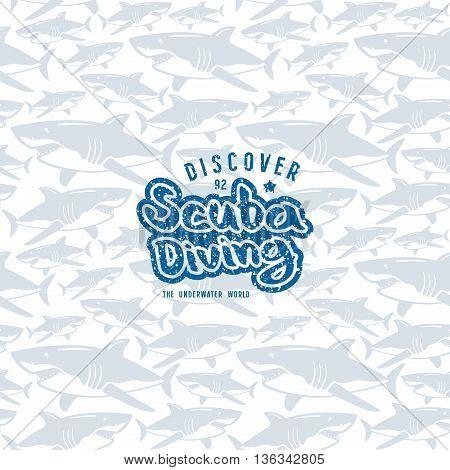 Shark seamless pattern and scuba diving emblem. Blue emblem with texture on light pattern