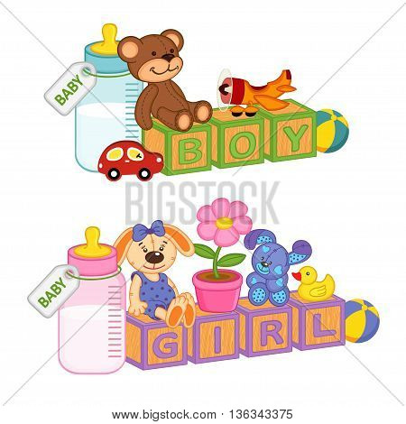 toys and accessories for baby with blocks  - vector illustration, eps