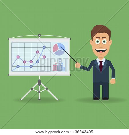 Cartoon character with pointer near presentation stand with business charts and diagrams. Business lecture seminar report presentation coaching meeting