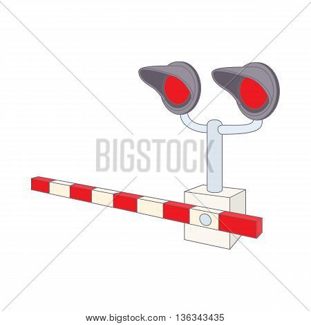 Railroad crossing icon in cartoon style on a white background