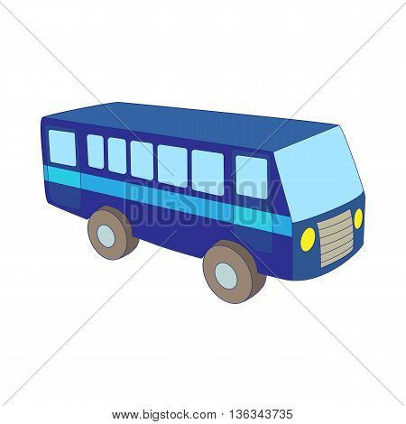 Blue bus icon in cartoon style on a white background