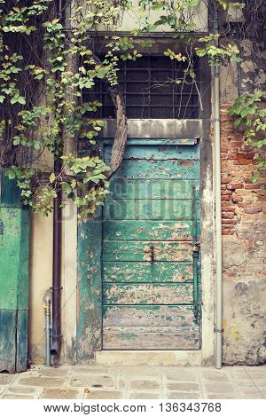 ancient green wooden door in Venice Italy