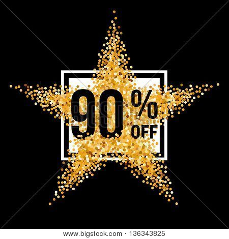 Golden Star and Frame with Discount Ninety Percent on Black