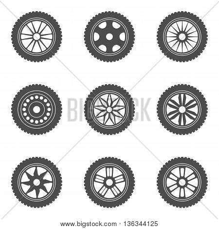 Set of car rims tires. Vector illustration