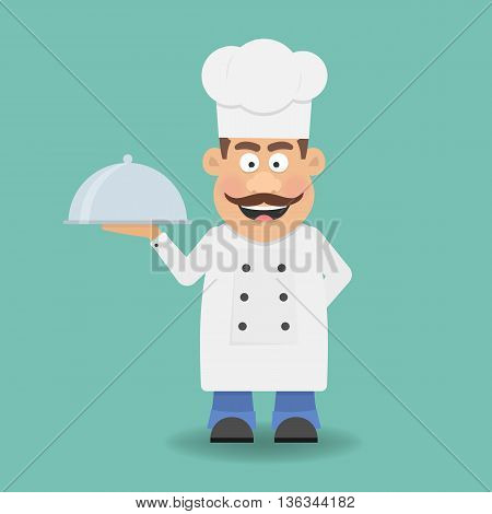Smiling Chef Cook or Kitchener. Cartoon character. Flat icon