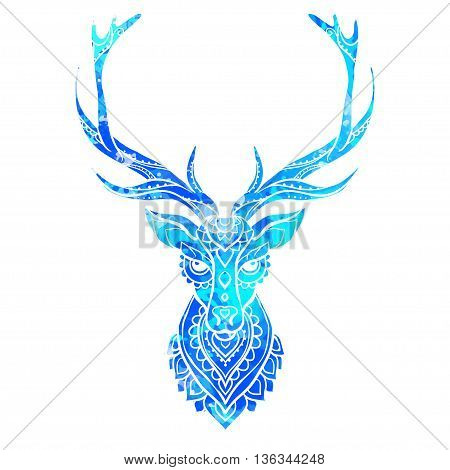 Ornament deer vector. Beautiful illustration deer  for design, print clothing, stickers, tattoos, Adult Coloring book. Hand drawn animal illustration. Bohemian deer lace watercolor