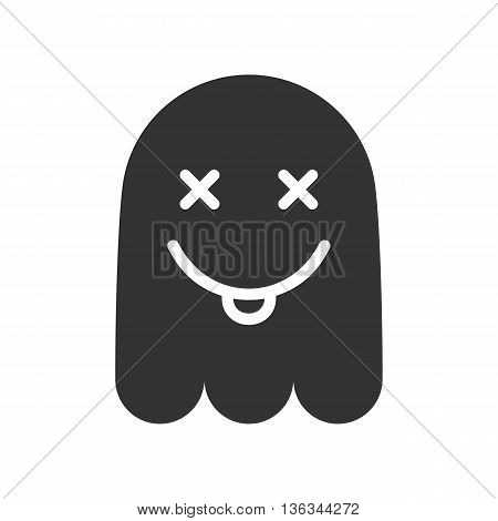 Crazy emoticon. Icon of mad ghost smile with tongue