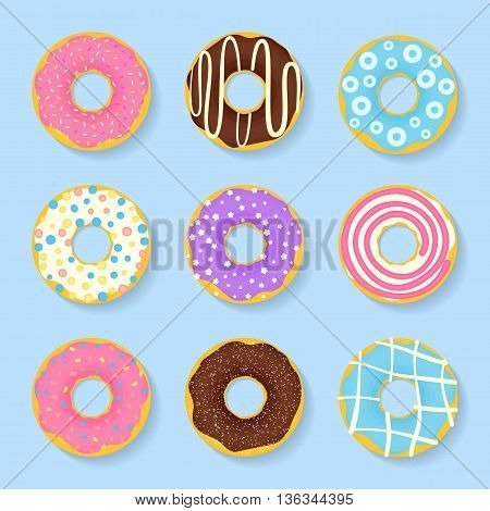 Icon set of sweet tasty donuts in glaze