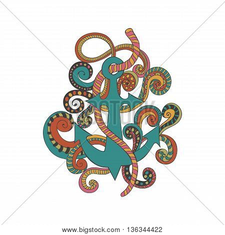Hand drawn doodled illustration of anchor ropes and swirls. Nautical label