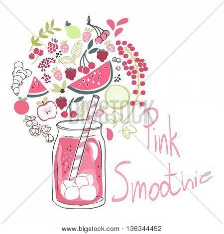 pink smoothie drink in jar and ingredients