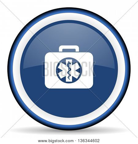 rescue kit round glossy icon, modern design web element