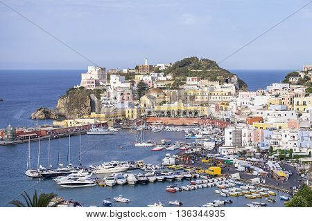 Ponza town as seen from a hill.