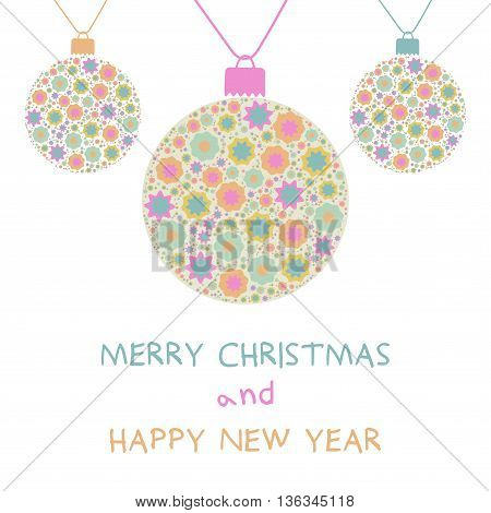 Christmas decoration ball. Merry Christmas and Happy New Year. Vector illustration