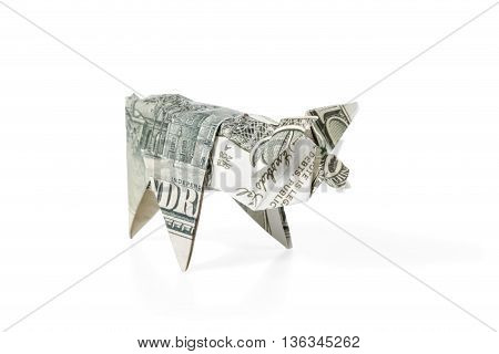 Pig origami folded from hundred dollar bills isolated on white background