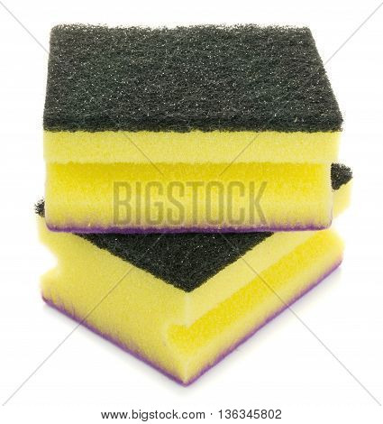 Dish washing sponges on a white background
