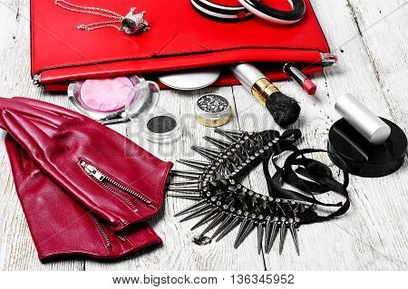 Red Clutch Bag And Ladies Accessories