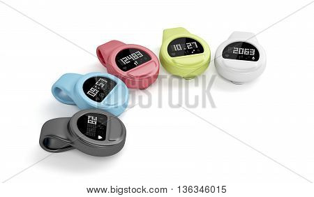 Clip-on activity trackers with different interfaces and colors, 3D illustration