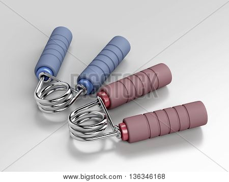 Pair of hand grippers on gray background, 3D illustration