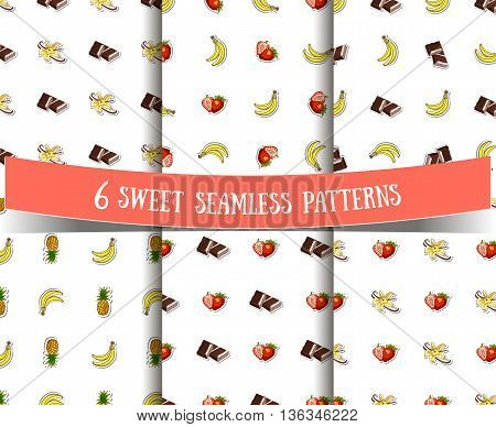Set of seamless patterns with different sweet ingredients on white background. Vector illustration.