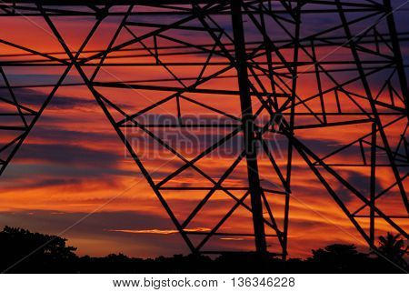electricity post cable construction for industry network power supply technology transmission silhouette