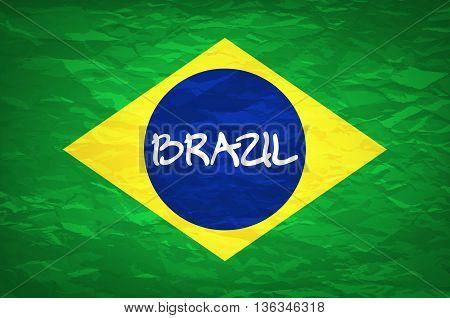 Brazil Flag. An Old Grunge Flag Of Brazil State Vector