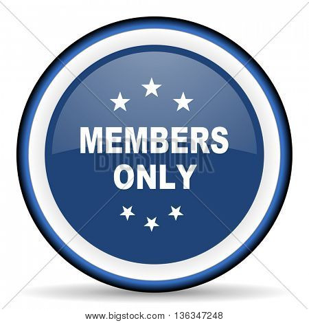 members only round glossy icon, modern design web element