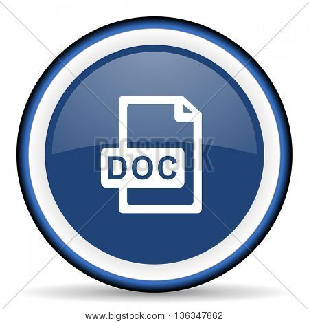 doc file round glossy icon, modern design web element