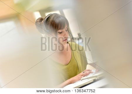 Portrait of teleoperator working in office