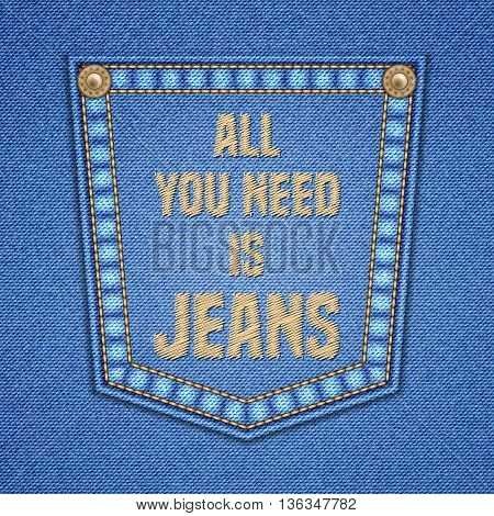 Jeans pocket with embroidered text message. Sale design. Vector illustration