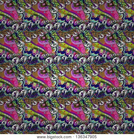 Vector seamless eastern pattern on colorful doodles background