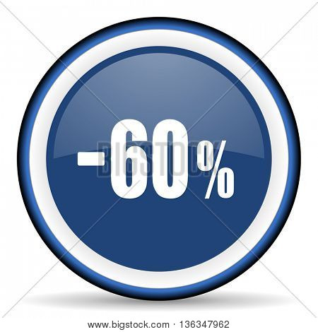 60 percent sale retail round glossy icon, modern design web element