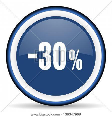30 percent sale retail round glossy icon, modern design web element