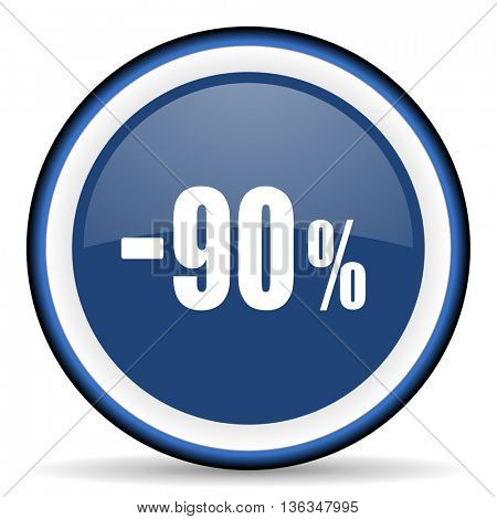 90 percent sale retail round glossy icon, modern design web element
