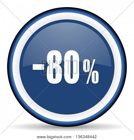 80 percent sale retail round glossy icon, modern design web element