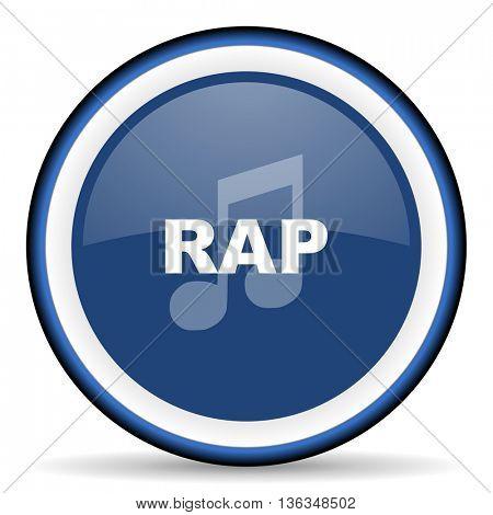 rap music round glossy icon, modern design web element