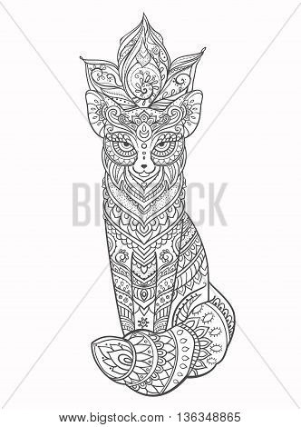 Ornament fox vector. Beautiful illustration fox for design, print clothing, stickers, tattoos, Adult Coloring book. Hand drawn animal illustration. Bohemian fox lace