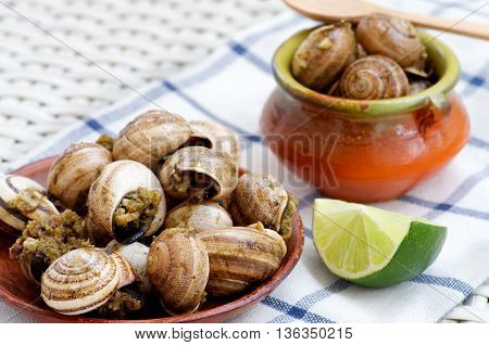 Delicious Escargot with Garlic Butter in Plate and Bowl with Lime closeup on Checkered Napkin. Focus on Foreground