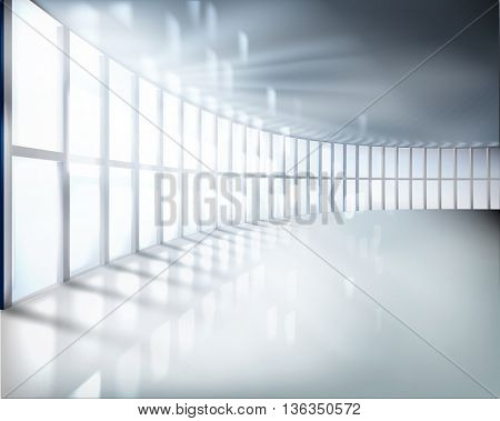 Office room with large window. Vector illustration.