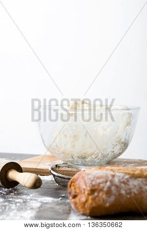 Making bread.table with the ingredients necessary to make bread