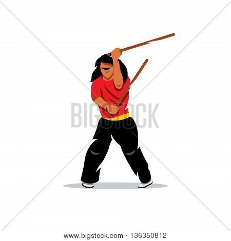 Man brandishing sticks. Isolated on a White Background