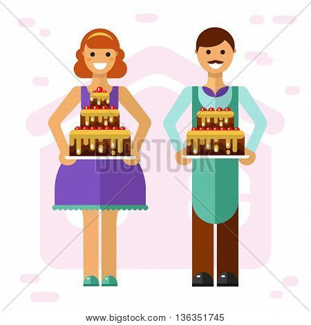 Vector flat style illustration of smiling boy and girl with big party cakes. Confectioner and baker cooking tasty cakes concept. Taste it!