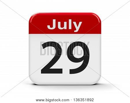 Calendar web button - The Twenty Ninth of July - International Tiger Day three-dimensional rendering 3D illustration
