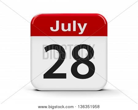 Calendar web button - The Twenty Eighth of July - World Hepatitis Day three-dimensional rendering 3D illustration