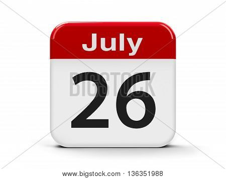 Calendar web button - The Twenty Sixth of July - Esperanto language day three-dimensional rendering 3D illustration