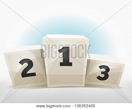 Illustration of an award winner podium for business success an wealth and for game ui score screens