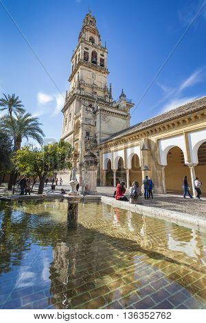 Cordoba - Spain - June 10, 2016 : Old Torre Del Alminar Bell Tower Mezquita Cordoba Andalusia Spain.