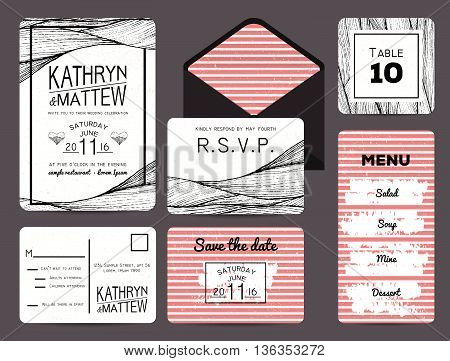 wedding invitation set with rsvp table and menu cards. wavy and stripy ornament. monochrome retro design