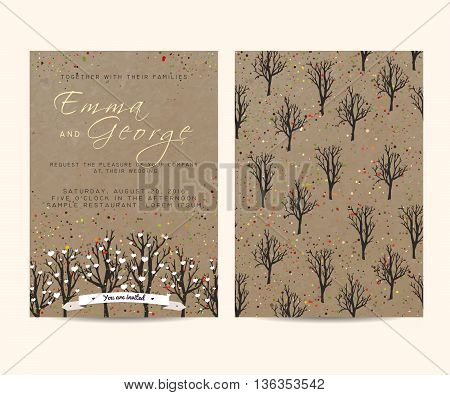 beautiful wedding invitation set with trees and branches decorated with confetti and hearts