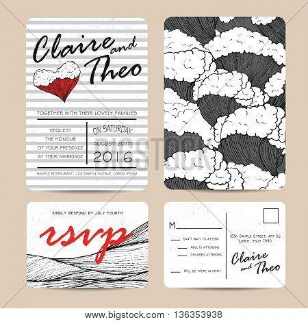 Marine wedding invitation set with rsvp card