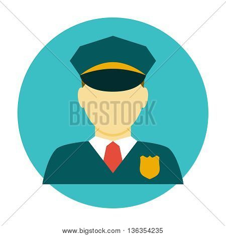 Policeman officer flat icon. Police avatar vector ilustration